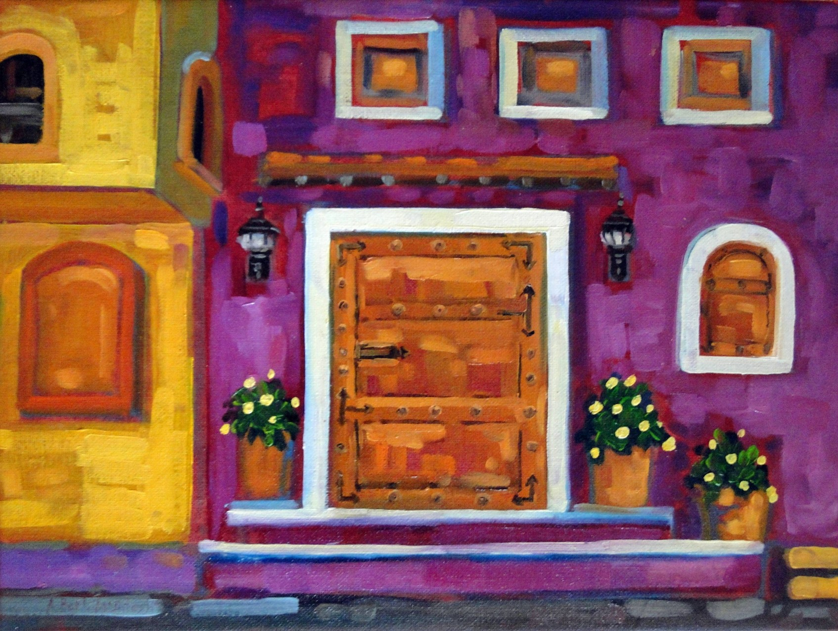 Purple and Yellow Doors Old                                       Town Puerto Vallarta Mexico Oil by                                       Angie Roth McIntosh