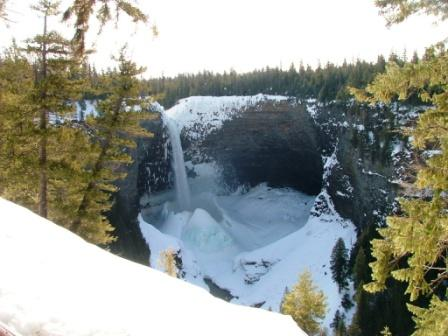 Helmken Falls in Wells Gray Park Ice Cone
