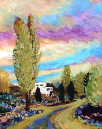 Acrylic of God's Mountain Inn Penticton
