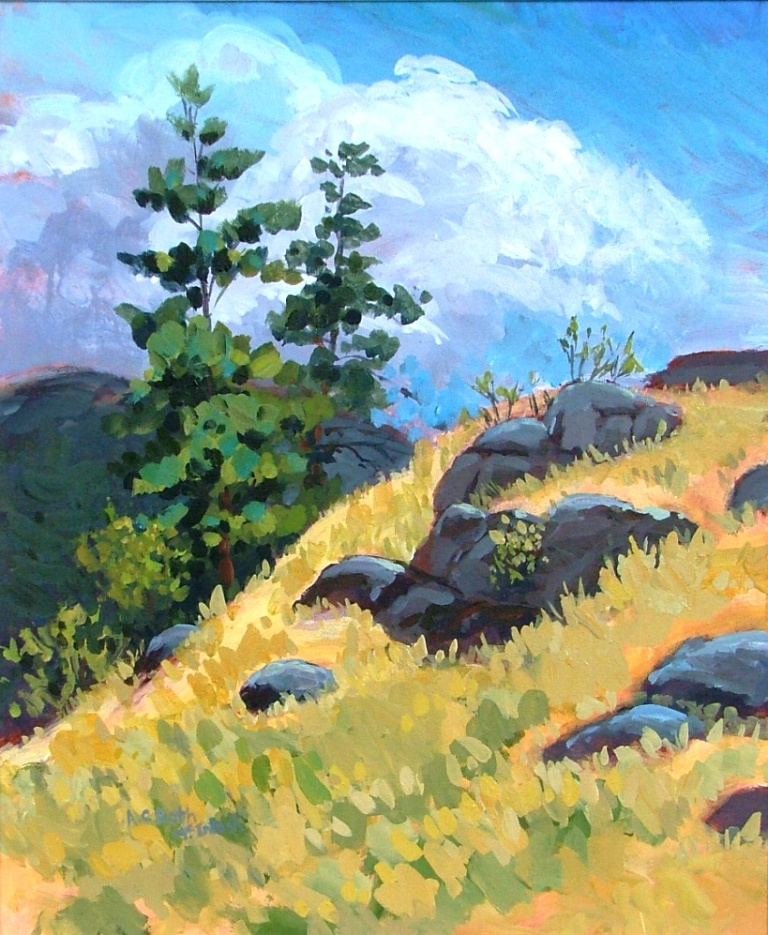 Rocks Above Skaha painted at God's Mtn Inn, Penticton