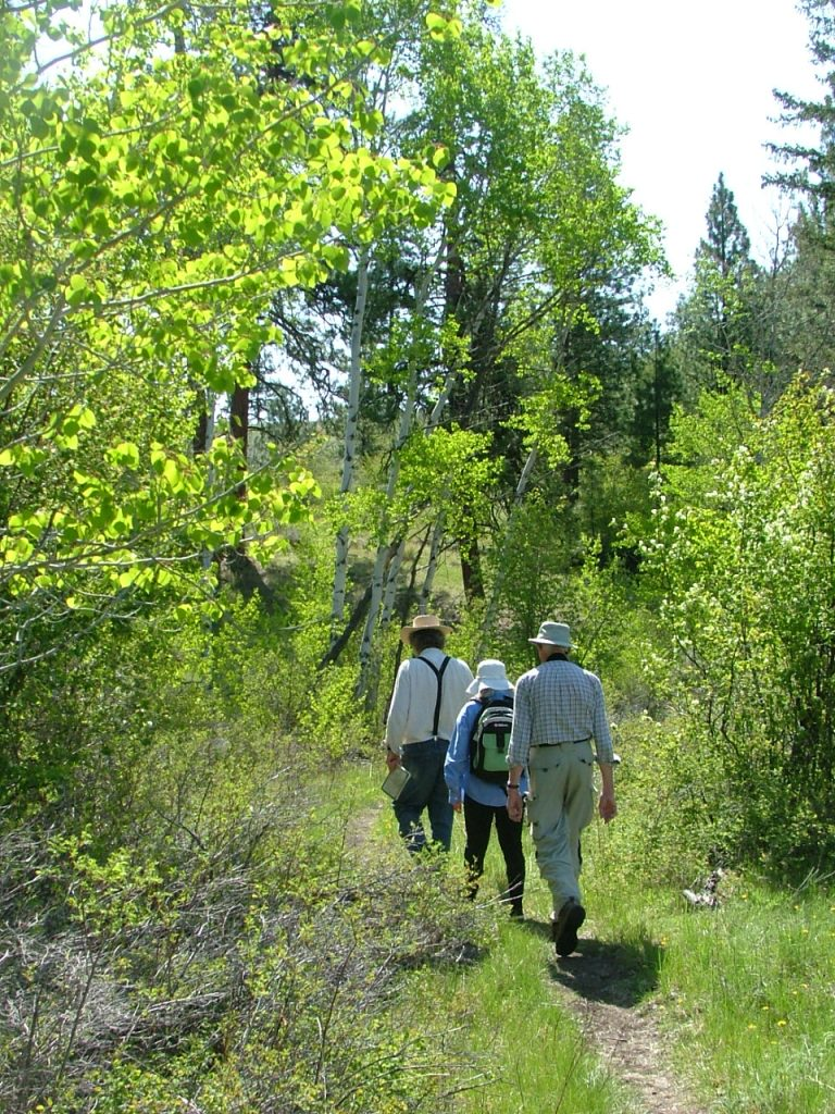 Don Gayton, grasslands ecologist leading hike above White Lake