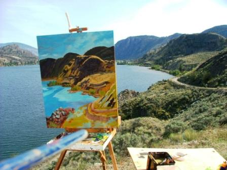 Angie's painting of the view west of Skaha between Kaleden and Okanagan Falls
