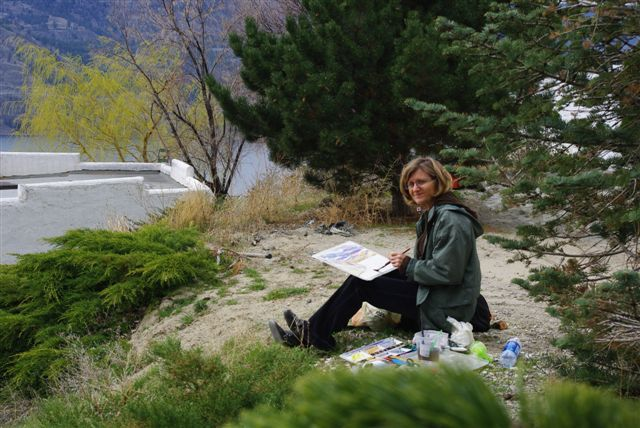 Angie painting at Gods Mtn Retreat Penticton