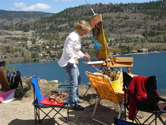 Angie Painting at Meadowlark 2009 above Skaha Lake